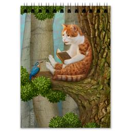 """Блокнот """"Читающий кот"""" - кот, лес, сказка, иллюстрация, книга"""