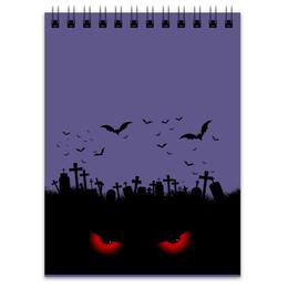"""Блокнот """"Взгляд оттуда"""" - рисунок, взгляд, хэллоуин, летучие мыши, кладбище"""