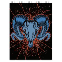 "Блокнот ""Goat skull"" - skull, череп, козел, goat"