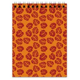 """Блокнот """"Оранжевый"""" - цветы, листья, осень, растения"""