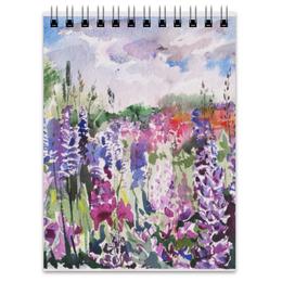 """Блокнот """"Люпиновый"""" - арт, фиолетовый, пейзаж, акварель, люпин"""