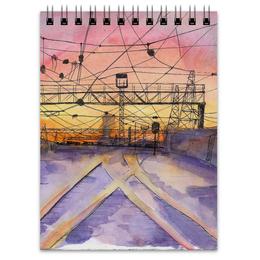 "Блокнот ""Railway sunset"" - дорога, закат, пейзаж, провода"