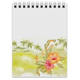 """Блокнот """"Тропические цветы, пальмы."""" - цветок, пальма, акварель, тропики"""