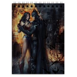 "Блокнот ""Wonder woman & Batman"" - комиксы, batman, бэтмен, dc comics, чудо-женщина"