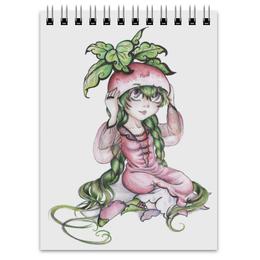 """Блокнот """"Девочка-редиска"""" - рисунок, аниме, овощ, редиска"""