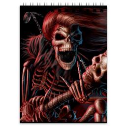 """Блокнот """"Смерть с гитарой"""" - череп, гитара, смерть, ужасы, металл"""