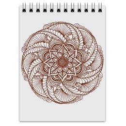 """Блокнот """"Цветок в стиле росписи хной"""" - цветы, узор, мандала, этнический, мехенди"""