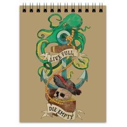 """Блокнот """"Осьминог"""" - череп, якорь, old school, татуировка, пират"""