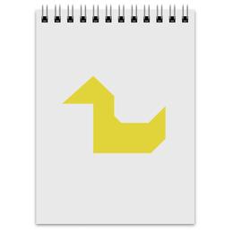 """Блокнот """"Жёлтая утка танграм"""" - арт, минимализм, утка, уточка, танграм"""