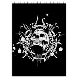 "Блокнот ""Череп"" - череп, трайбл, skull, tribal"