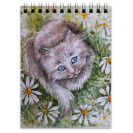 """Блокнот """" Ромашковый кот """" - кот, цветы, рисунок, ромашки, кот в ромашках"""