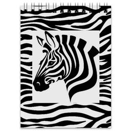 "Блокнот ""Зебра"" - зебра, белый, чёрный, дизайн, графика"