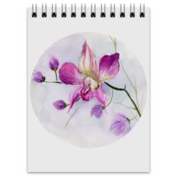"""Блокнот """"Розовая орхидея"""" - цветы, весна, розовый, акварель, орхидея"""