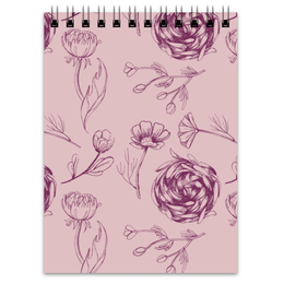 "Блокнот ""Осенний сад "" - цветы, pink, паттерн, осенний сад"