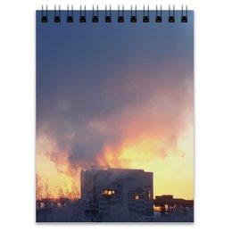 """Блокнот """"Рассвет, похожий на пожар"""" - зима, красный, рассвет, пожар, тревожный"""