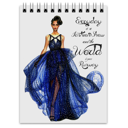 "Блокнот ""Blue fashion dress"" - мода, платье, fashion, blue, dress"