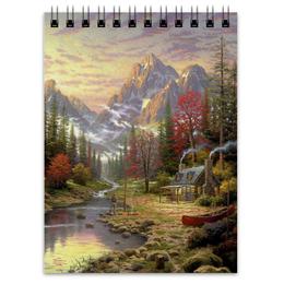 """Блокнот """"Домик в лесу"""" - красота, природа, горы, домик в лесу, речка"""