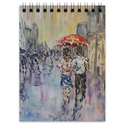 """Блокнот """"Дождь"""" - девушка, город, дождь, прогулка, парень с девушкой"""