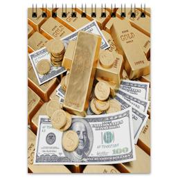 """Блокнот """"Деньги"""" - золото, деньги, доллар, монеты, слитки"""