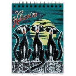 """Блокнот """"Хеллоуин"""" - хэллоуин, рисунок, скелетон, чёрный кот, летучие мыши"""