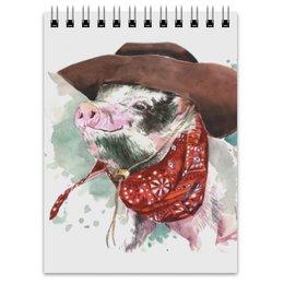 """Блокнот """"Свин ковбой"""" - свинка, поросенок, ковбой, свинья символ года, символ 2019"""