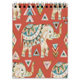 """Блокнот """"Слоны"""" - узор, животные, слон, треугольники, индия"""