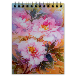 """Блокнот """"Древесные пионы."""" - цветы, пионы, живопись, букет"""