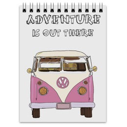"Блокнот ""Adventure is out there"" - розовый, транспорт, путешествия, автобус"