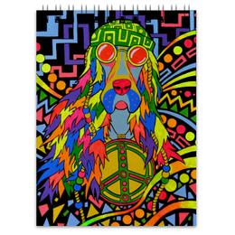"""Блокнот """"собака хиппи"""" - арт, собака, hippie, хиппи, пацифизм"""