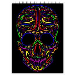 "Блокнот ""Skull Art"" - skull, череп, artwork, цветной череп, арт дизайн"