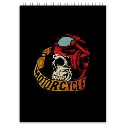 """Блокнот """"Без названия"""" - череп, мото, скорость, мотоциклы, motorcycle"""