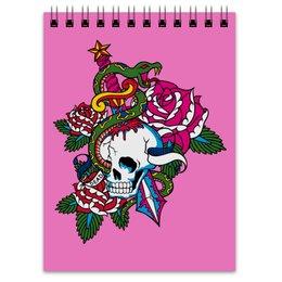 """Блокнот """"Череп"""" - роза, змей, кинжал, череп"""