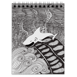 "Блокнот ""Ярость"" - арт, рисунок, графика, акула, монохром"
