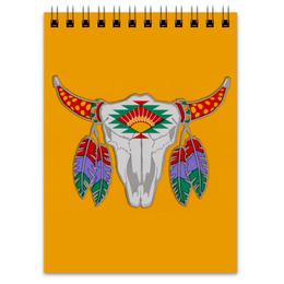"""Блокнот """"Этнический бык"""" - 23 февраля, желтый, этно, бык, bull"""