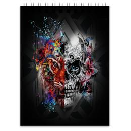 """Блокнот """"Череп"""" - череп, животные, тигр, краски, цветы"""