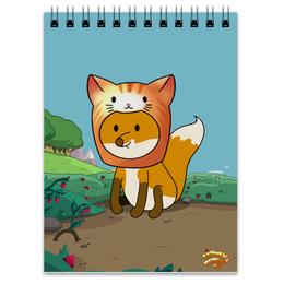 """Блокнот """"Лисенок в шапочке котика"""" - котик, лис, лисенок, полянка"""