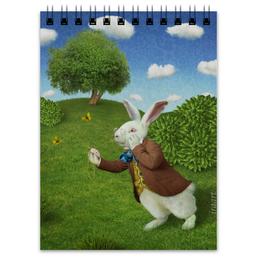 """Блокнот """"Белый Кролик"""" - алиса, зайчик, алиса в стране чудес, alice in wonderland, белый кролик"""