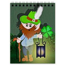"""Блокнот """"Лепрекон с фонарем и волшебный клевер"""" - клевер, фонарь, день святого патрика, карлик, четырехлистник"""