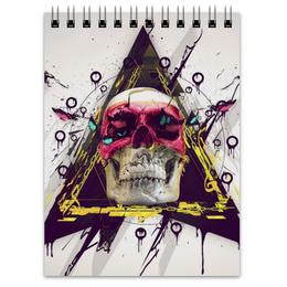 "Блокнот ""Skull in triangle"" - skull, череп, swag, иллюминаты, illuminati"