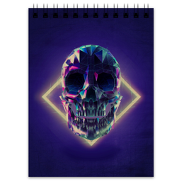 "Блокнот ""Low poly skull"" - skull, череп, полигон"
