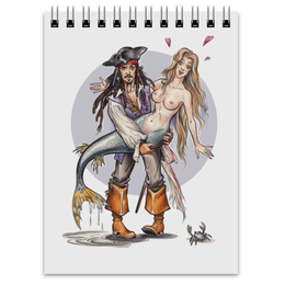 "Блокнот ""Пират и русалка."" - пират, русалочка, русалка, джек воробей, пираты карибского моря"