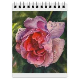 """Блокнот """"После дождя"""" - лето, красный, роза, розовый, капли"""