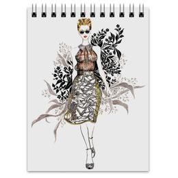 """Блокнот """"Abstract fashion"""" - цветы, black, мода, flowers, fashion"""
