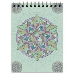 """Блокнот """"Блокнот Sacred mint"""" - визуализация, узор, паттерн, мандала, мята"""