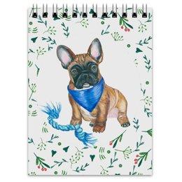 "Блокнот ""Мой друг француз"" - собака, синий, бульдог, французский бульдог"