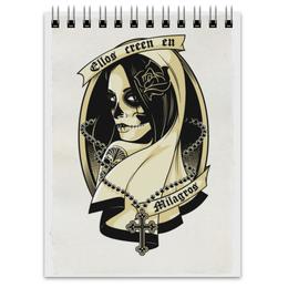 "Блокнот ""Santa Muerte "" - skull, череп, девушка, смерть, санта муерте"