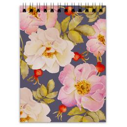 """Блокнот """"ШИПОВНИК НА СИНЕМ"""" - цветы, rose, flower, акварель, шиповник"""