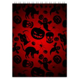 """Блокнот """"Хэллоуин"""" - череп, кот, тыква, приведение"""