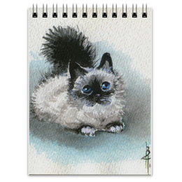 """Блокнот """"Котик"""" - кот, рисунок, черно-белое, акварель, бирюзовый"""