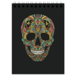 "Блокнот ""Череп"" - skull, череп, узор, сова, паттерн, owl"
